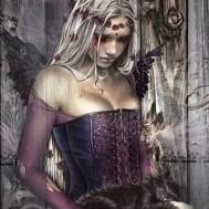 Kvinna Gothic katt, fyrkant 50x70cm