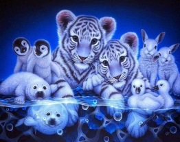 Tiger vänner blå, fyrkant 60x50cm -