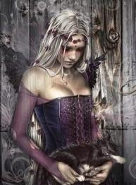 Kvinna Gothic katt, fyrkant 50x70cm -