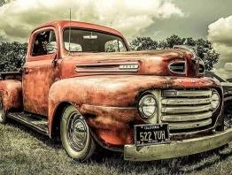 Bil vintage röd, fyrkant 50x40cm -