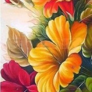 Blommor, rund 30x60cm