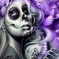 Spöktjej lila, rund 40x50cm