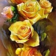 Rosor gul, rund 40x80cm