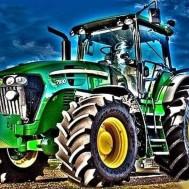 Traktor grön, rund 50x40cm
