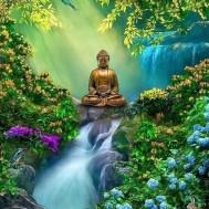 Buddha vattenfall, rund 40x50cm
