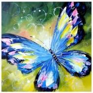 Fjäril blå, rund 50x50cm