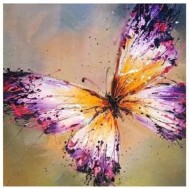 Fjäril rosa/lila, rund 50x50cm