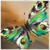 Fjäril grön, rund 50x50cm