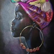 Afrikansk kvinna, rund 40x50cm