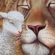 Lejon med lamm, fyrkant 60x50cm