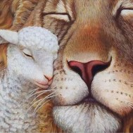 Lejon med lamm, rund 60x50cm