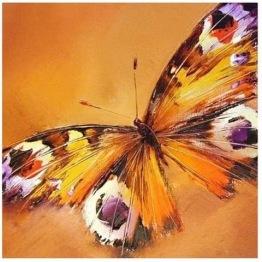 Fjäril orange, rund 50x50cm -