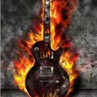 Brinnande gitarr, fyrkant 50x70cm