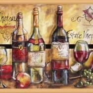 Vinflaskor, fyrkant 70x50cm
