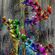 Gitarr blommande, fyrkant 50x70cm