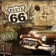 Bil Route 66 rund eller fyrkantig, 60x50cm