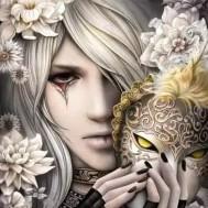 Kvinna mask, rund  50x60cm