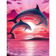 Delfiner rosa, rund 40x50cm