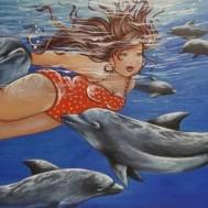 Kvinna med delfiner, rund 50x40cm