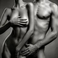 Man och kvinna naket, fyrkant 50x40cm