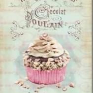 Vintage cupcake, fyrkant 40x50cm