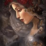 Kvinna mystik, fyrkant 50x70cm