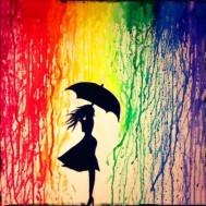 Colour rain, fyrkant 30x30cm