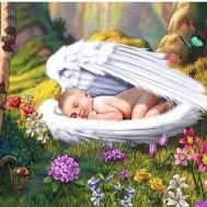 Ängel vingar bebis, fyrkant 70x50cm
