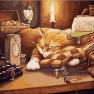 Katt på skrivbord, fyrkant 50x40cm