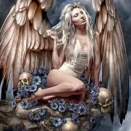 Kvinna ängel döskallar, fyrkant 50x70cm