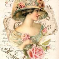 Kvinna vintage rund eller fyrkant 40x50cm