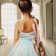 Ballerina flicka, rund eller fyrkantig 40x50cm
