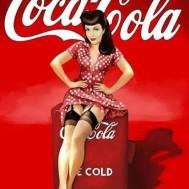 Pinupp, coca cola, rund eller fyrkantig 50x60cm