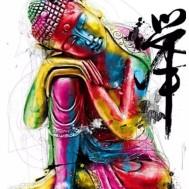 Buddha färgglad, rund eller fyrkant 40x50cm