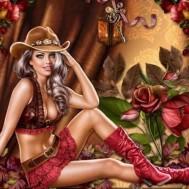 Cowboy flicka 50x40cm rund
