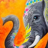 Indisk elefant 30x40cm rund