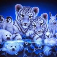 Alaska djur blå 50x40cm rund