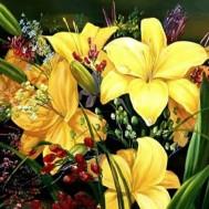 Blommor gul 50x40cm rund