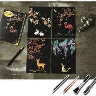 Scratch painting 4 pack djur
