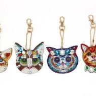 Nyckelring 4 pack katter diamondpainting