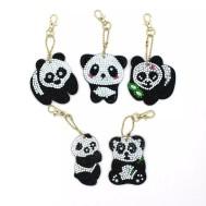 Nyckelring panda 5 pack diamondpainting