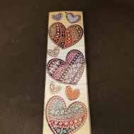 Bokmärke diamond painting hjärtan