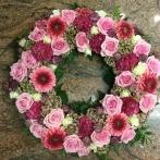 Oasiskrans rosa röd vit