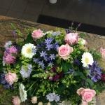 Liggande dekoration, rosa blå