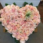 Rosa begravningshjärta - stort