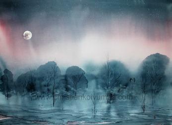 Gicléetryck Full moon - Gicléetryck Full moon A4