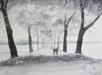 Gicléetryck Djulö Allé Vinter - Gicléetryck Djulö Allé Vinter A4