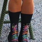 multifärgade skosnören.