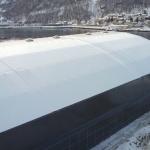 Montage av hallduk och montage i Narvik, Norge