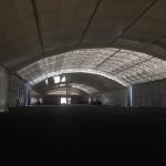 Montage av innerduk i lagerhall 40x200m